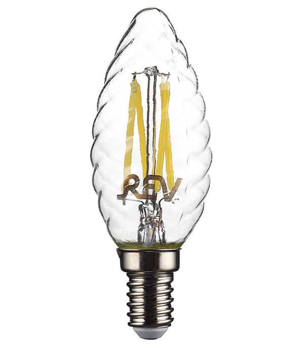 Лампа светодиодная REV 5 Вт Е14 филаментная свеча витая TC37 4000 К дневной свет 230 В фото