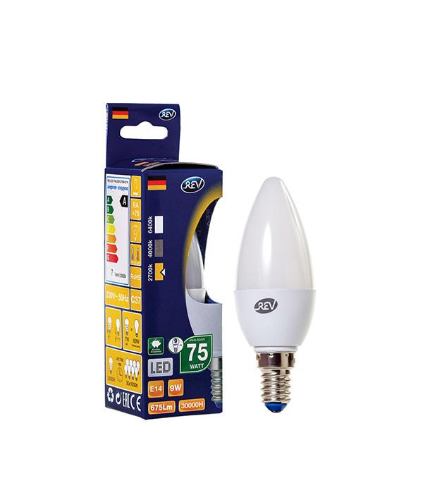 Лампа светодиодная REV 9 Вт Е14 свеча С37 2700 К теплый свет 230 В прозрачная фото