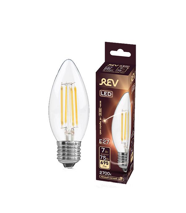 Лампа светодиодная REV 7 Вт Е27 филаментная свеча С37 2700 К теплый свет 230 В фото