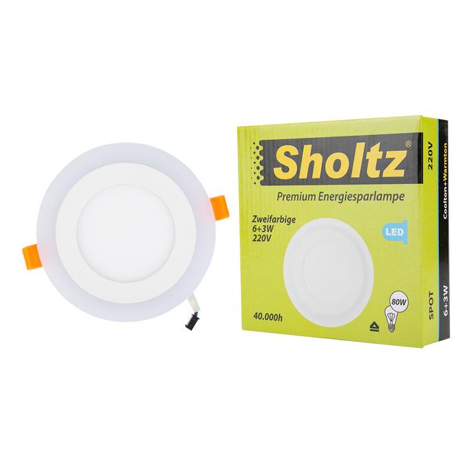 Светильник светодиодный встраиваемый Sholtz d142 мм двухцветный 9 Вт 220 В 4000 К дневной свет круглый IP20 белый фото