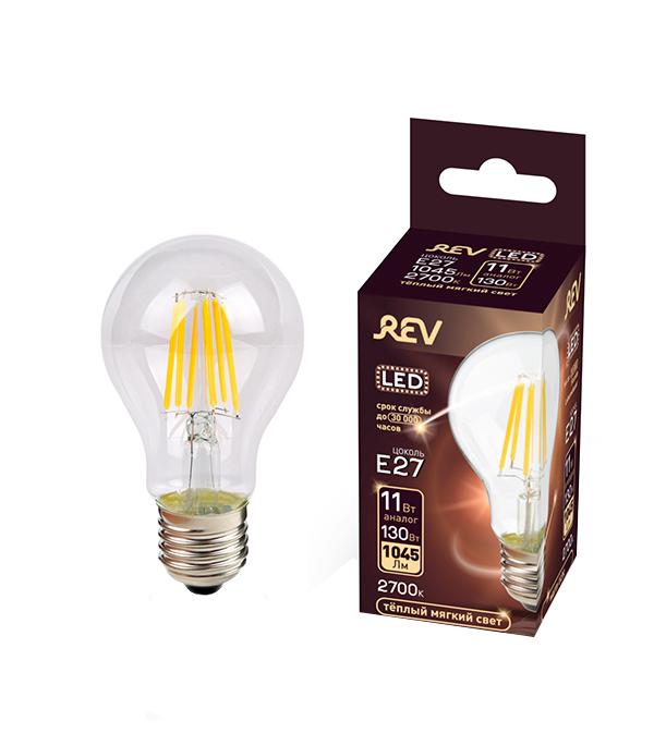 Лампа светодиодная REV 11 Вт Е27 филаментная груша A60 2700 К теплый свет 230 В фото