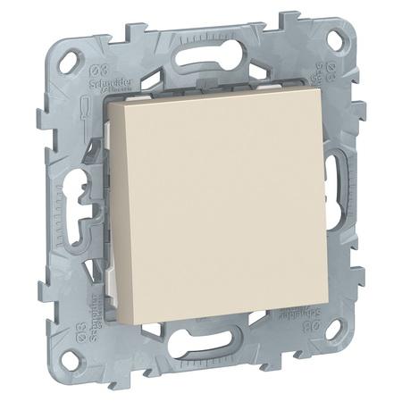 Выключатель одноклавишный бежевого цвета 10А 250В NU520144 Schneider Unica New фото