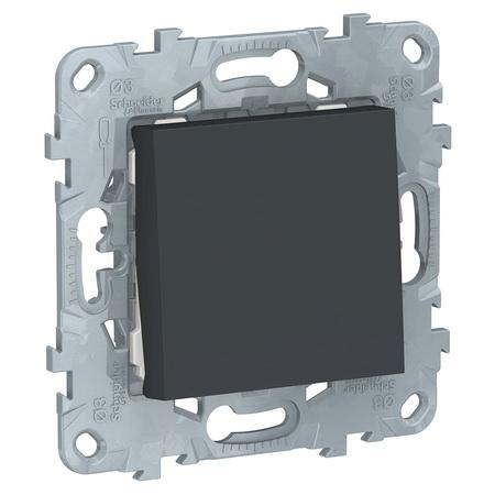 Выключатель одноклавишный перекрестный (из 3-х мест) 10А/250 В~ Schneider Unica New, антрацит NU520554 фото
