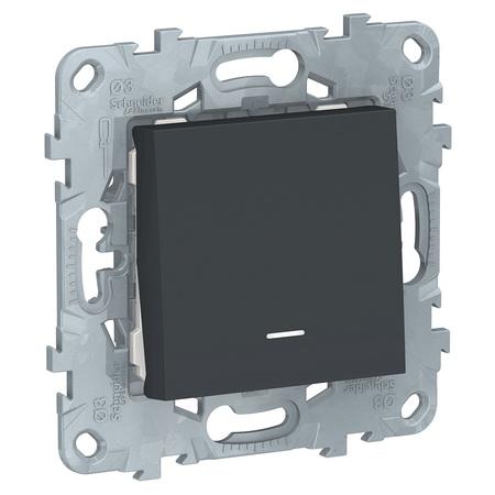 Выключатель одноклавишный с подсветкой 10А/250 В~ Schneider Unica New, антрацит NU520154N фото