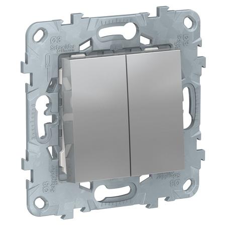 Выключатель двухклавишный перекрестный (из 3-х мест) 10А/250 В~ Schneider Unica New, алюминий NU521530 фото