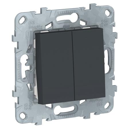 Переключатель двухклавишный на два направления (из 2-х мест) 10А/250 В~ Schneider Unica New, антрацит NU521354 фото