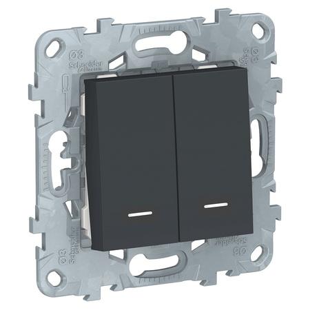 Выключатель двухклавишный с подсветкой 10А/250 В~ Schneider Unica New, антрацит NU521154N фото