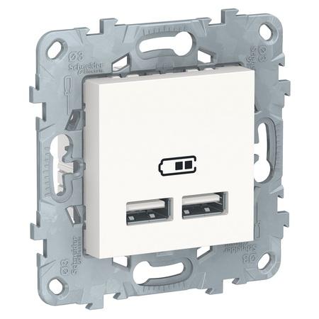 Розетка USB двойная для зарядки 2,1А Schneider Unica New, белый NU541818 фото