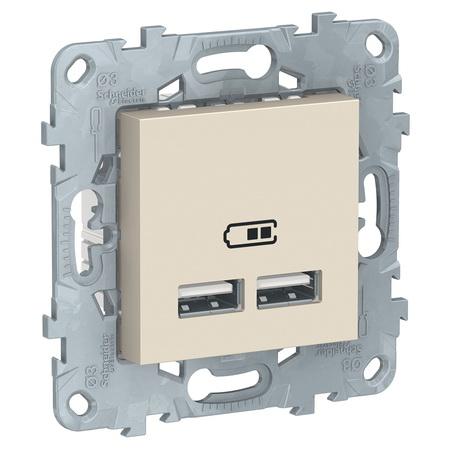 Розетка USB двойная для зарядки 2,1А Schneider Unica New, бежевый NU541844 фото