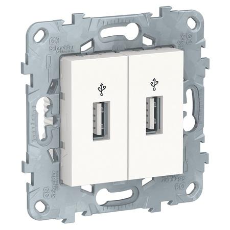 Розетка USB двойнаядля передачи данных Schneider Unica New, белый NU542718 фото