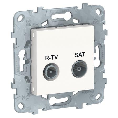 Розетка TV-R/SAT проходная, Schneider Unica New, белый NU545618 фото