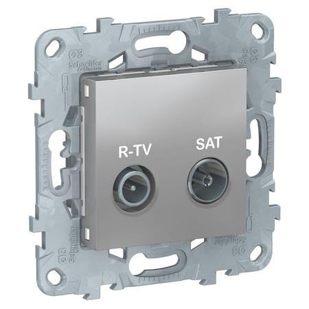 Розетка TV-R/SAT проходная, Schneider Unica New, алюминий NU545630 фото