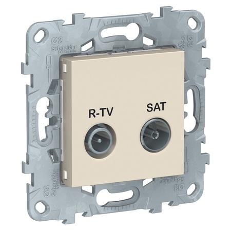 Розетка TV-R/SAT проходная, Schneider Unica New, бежевый NU545644 фото