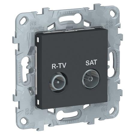 Розетка TV-R/SAT оконечная, Schneider Unica New, антрацит NU545554 фото