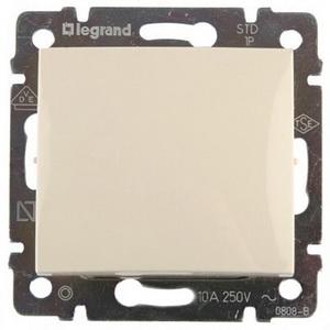 Выключатель без фиксации (кнопка) одноклавишный выключатель 10A 774311 Legrand Valena цвет бежевый фото