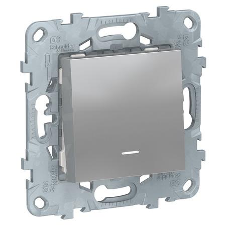 Кнопочный выключатель одноклавишный с подсветкой 10А/250 В~ Schneider Unica New, алюминий NU520630N фото