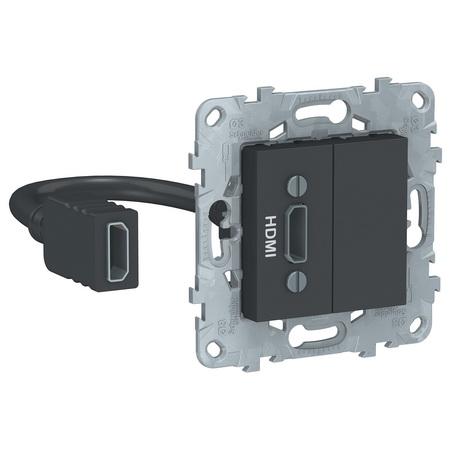 Розетка HDMI одинарная с выносным разъемом Schneider Unica New, антрацит NU543054 фото
