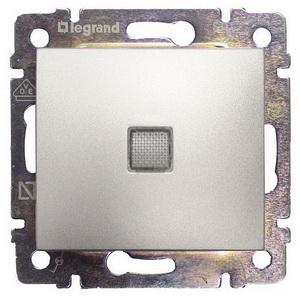 Проходной выключатель с 3-х мест с подсветкой 770148 Legrand Valena цвет алюминий фото