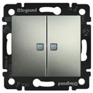 Выключатель двухклавишный проходной с подсветкой Legrand Valena (с 2-х мест) 10А/250В алюминий 770212 фото