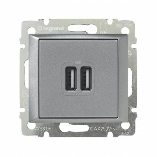Розетка USB двойная Legrand Valena, алюминий 770270 фото