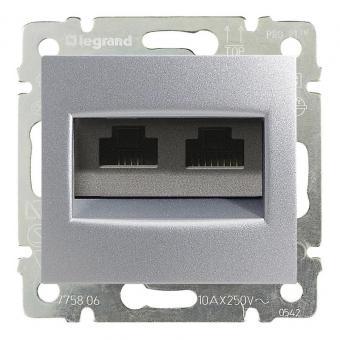 Розетка компьютерная двойная RJ45 категории 5e UTP Legrand Valena Classic алюминий фото
