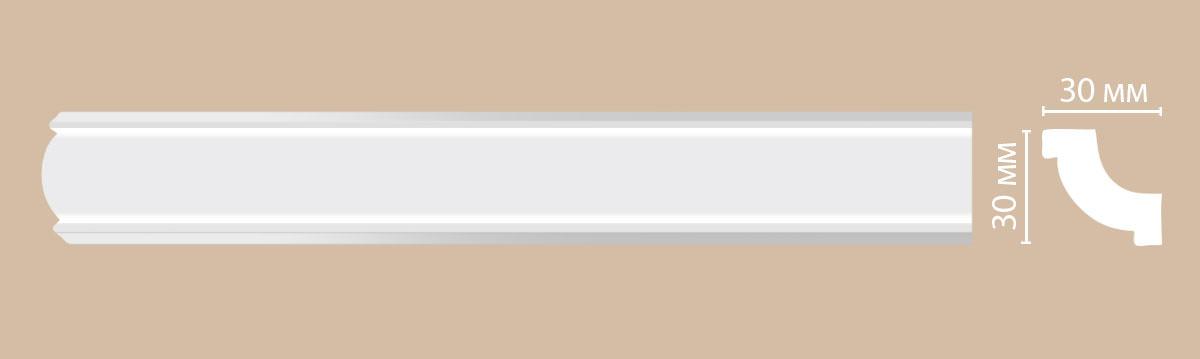 Потолочный плинтус гладкий DECOMASTER 96123 30х30х2400 мм.