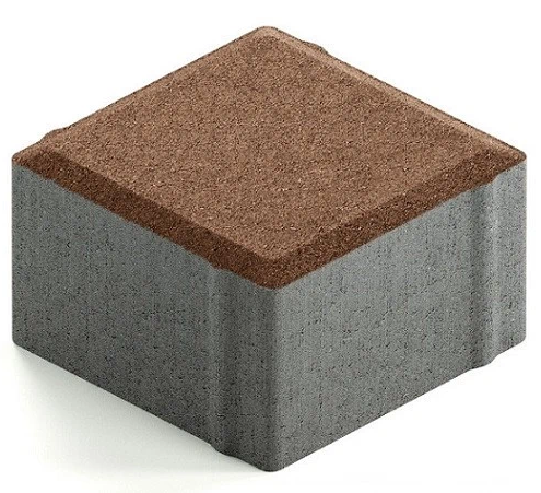 Steingot Практик 60, 100х100х60 мм, Плитка тротуарная квадратная частичный прокрас коричневая фото