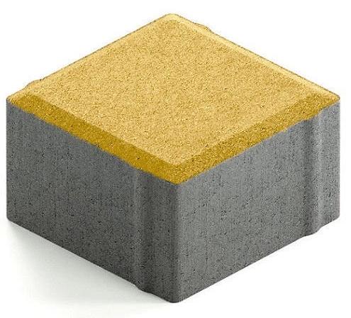 Steingot Практик 60, 100х100х60 мм, Плитка тротуарная квадратная частичный прокрас желтая фото