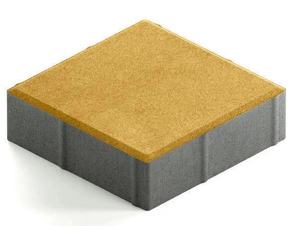 Steingot Практик 60, 200х200х60 мм, Плитка тротуарная квадратная частичный прокрас желтая фото