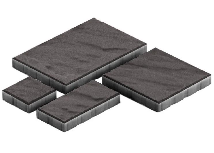 Steingot Грандо, 60 мм, Плитка тротуарная мультиформатная частичный прокрас черная фото