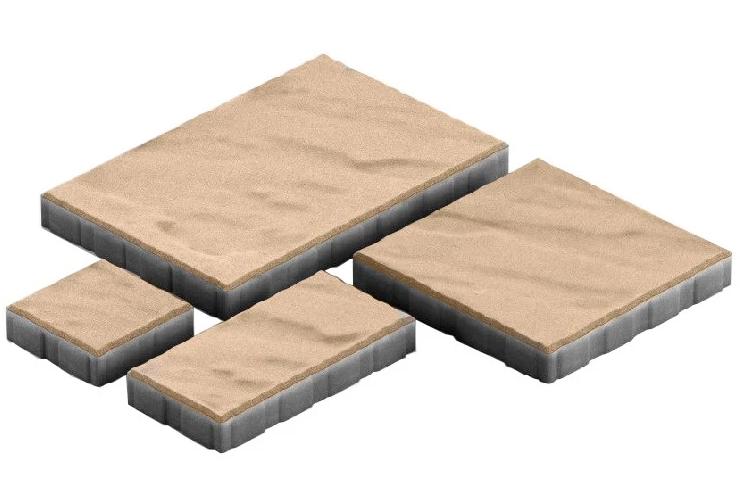 Steingot Грандо, 60 мм, Плитка тротуарная мультиформатная частичный прокрас бежевая фото