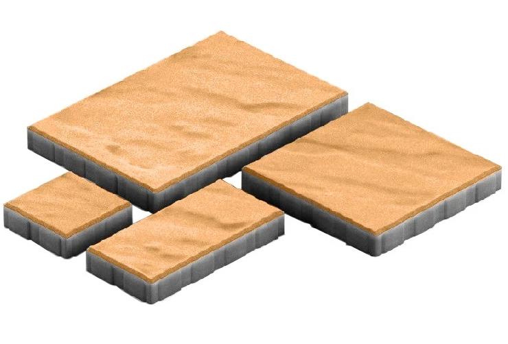 Steingot Грандо, 60 мм, Плитка тротуарная мультиформатная частичный прокрас оранжевая фото