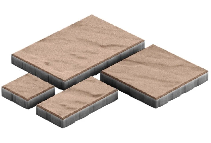 Steingot Грандо, 60 мм, Плитка тротуарная мультиформатная частичный прокрас светло-коричневая фото