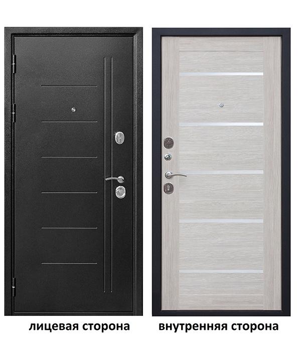 Дверь входная Троя левая серебряный антик - лиственница бежевая со стеклом 960х2050 мм фото