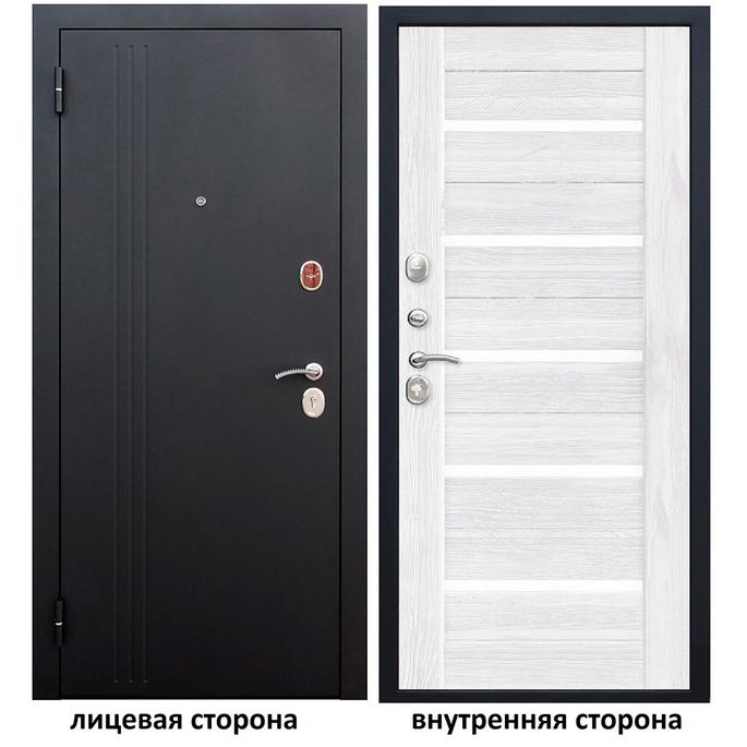 Дверь входная Нью-Йорк 7,5 левая черный муар - ясень белый эмаль 960х2050 мм фото