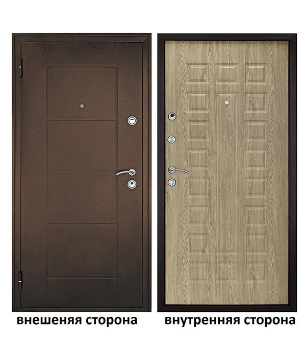 Дверь входная Форпост Квадро левая медный антик - ель карпатская 960х2050 мм фото