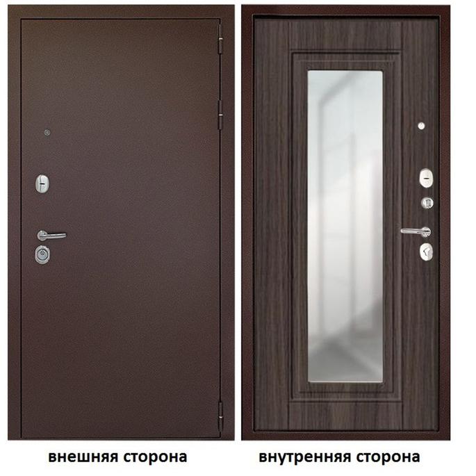 Дверь входная Дверной континент Гарант 1 правая медный антик - венге с зеркалом 960х2050 мм.
