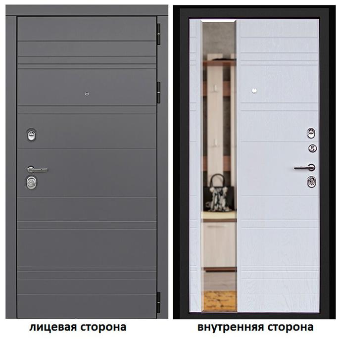 Дверь входная Дверной континент Новелло правая графит - альберо-браш с зеркалом 860х2050 мм.