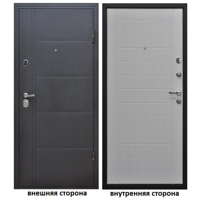 Дверь входная Форпост Эверест правая серый графит - беленый дуб 860х2050 мм фото