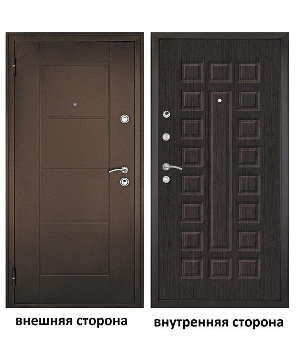 Дверь входная Форпост Квадро левая медный антик - венге 960х2050 мм фото