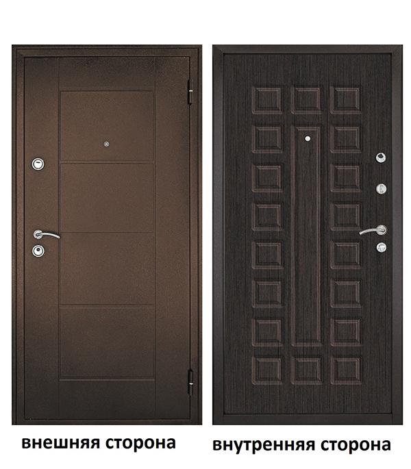 Дверь входная Форпост Квадро правая медный антик - венге 960х2050 мм фото