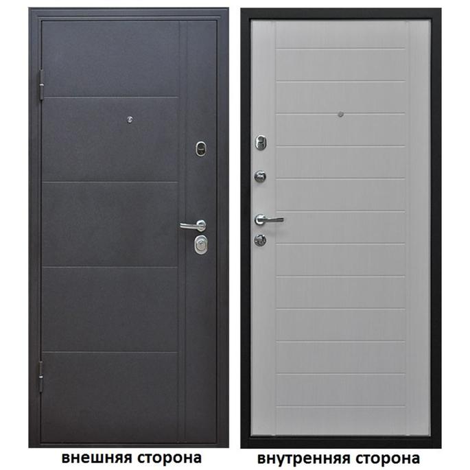 Дверь входная Форпост Эверест левая серый графит - беленый дуб 860х2050 мм фото