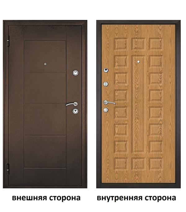 Дверь входная Форпост Квадро левая медный антик - дуб золотой 860х2050 мм фото