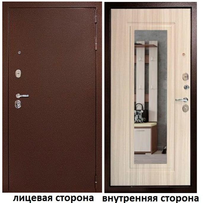 Дверь входная Дверной континент Гарант 1 правая медный антик - беленый дуб с зеркалом 960х2050 мм.