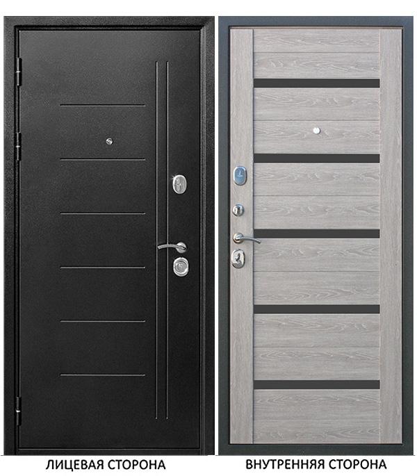 Дверь входная Троя левая серебряный антик - дымчатый дуб со стеклом 960х2050 мм фото