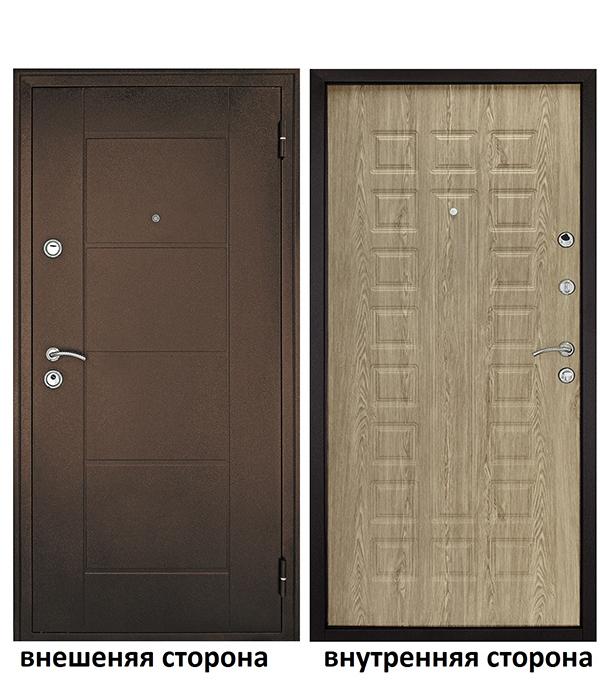 Дверь входная Форпост Квадро правая медный антик - ель карпатская 860х2050 мм фото