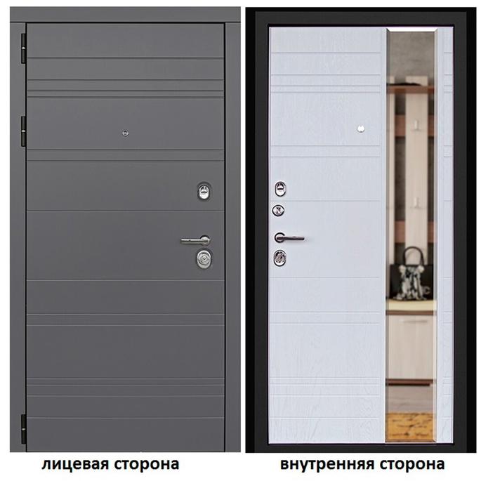 Дверь входная Дверной континент Новелло левая графит - альберо-браш с зеркалом 960х2050 мм.