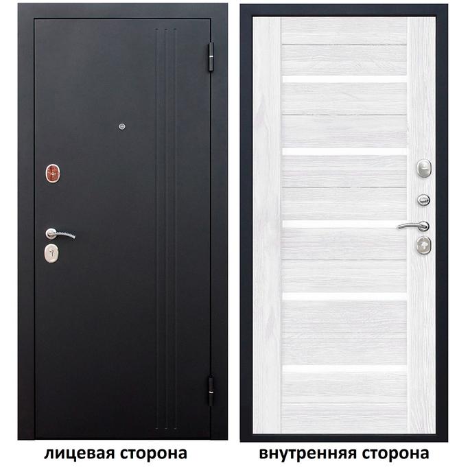 Дверь входная Нью-Йорк 7,5 правая черный муар - ясень белый эмаль 960х2050 мм фото