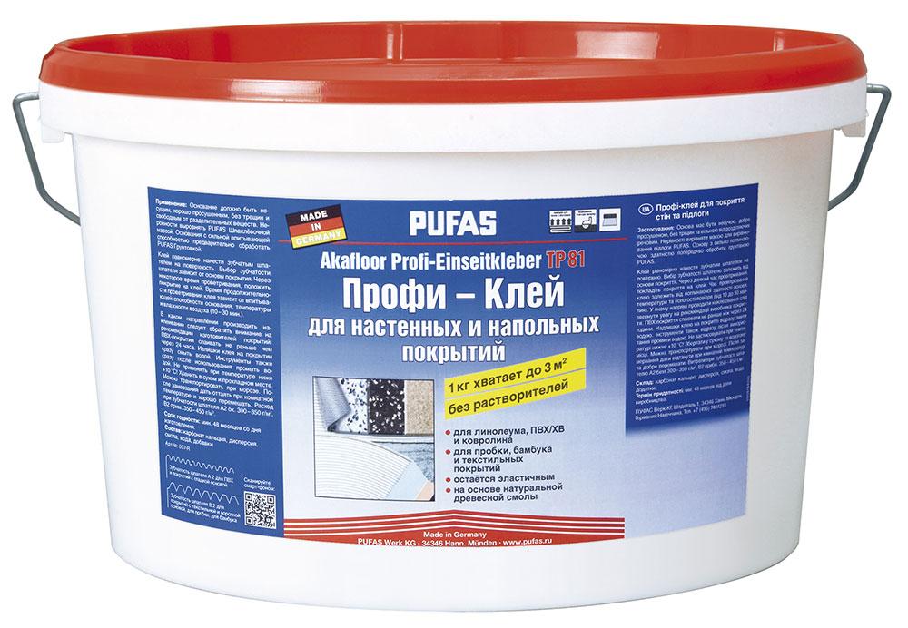 Pufas N097-R Akafloor TP-81, 3 кг, Клей синтетический для гибких напольных покрытий фото