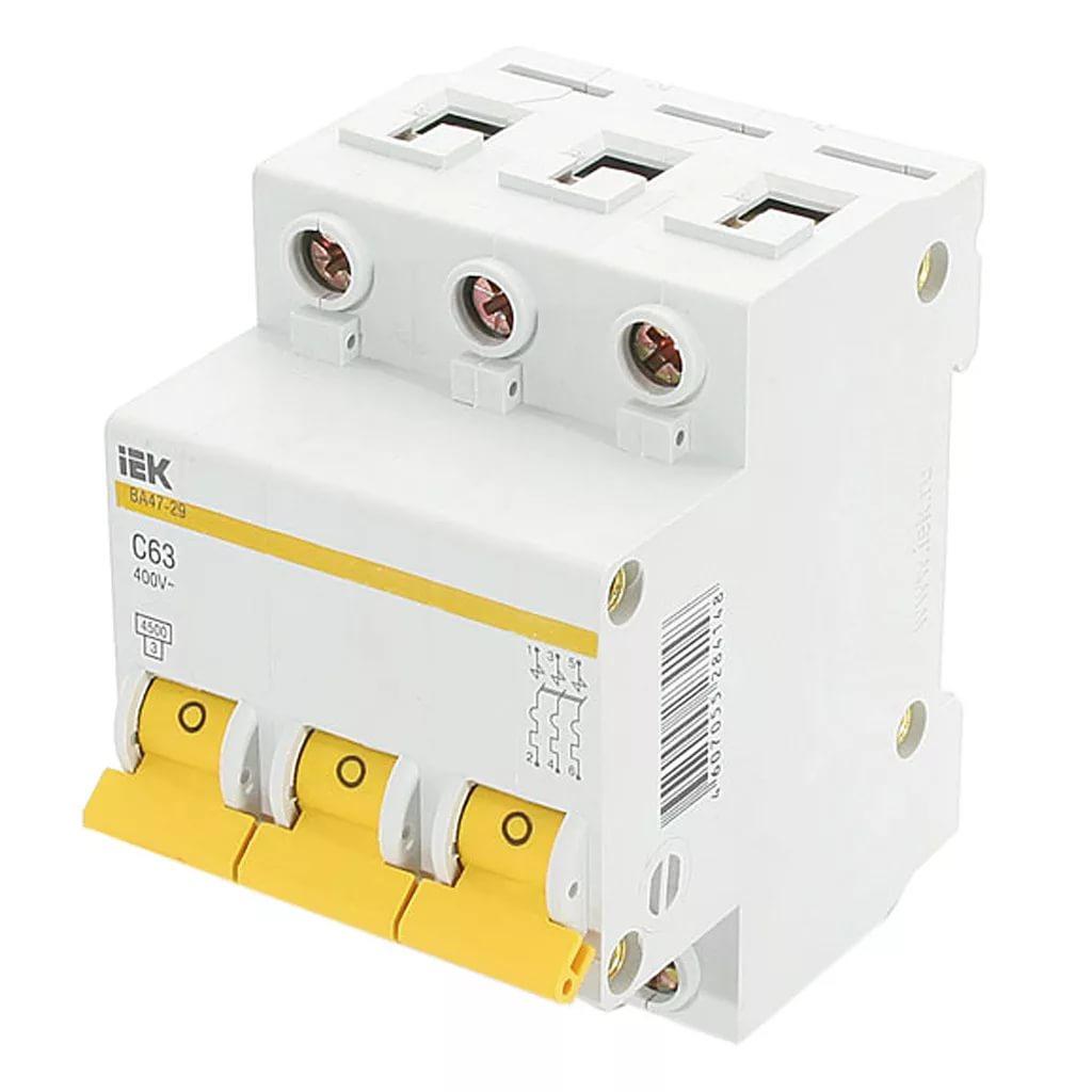 Автоматический 3-полюсный выключатель IEK 3п C 63А ВА 47-29 4.5кА MVA20-3-063-C фото